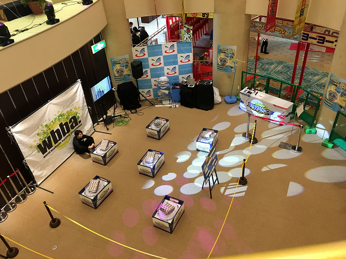 beyblade burst g3 tournament area setup aerial view
