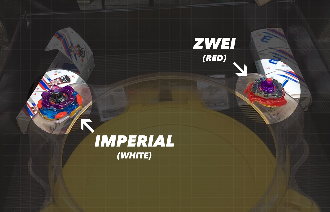 Screenshot of Beyblade battle video illustrating which Beyblade is Imperial and which is Zwei