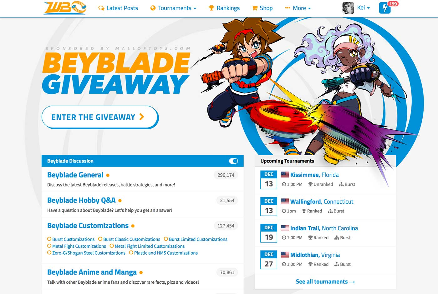 worldbeyblade.org website index screenshot showing forum categories and tournament listing