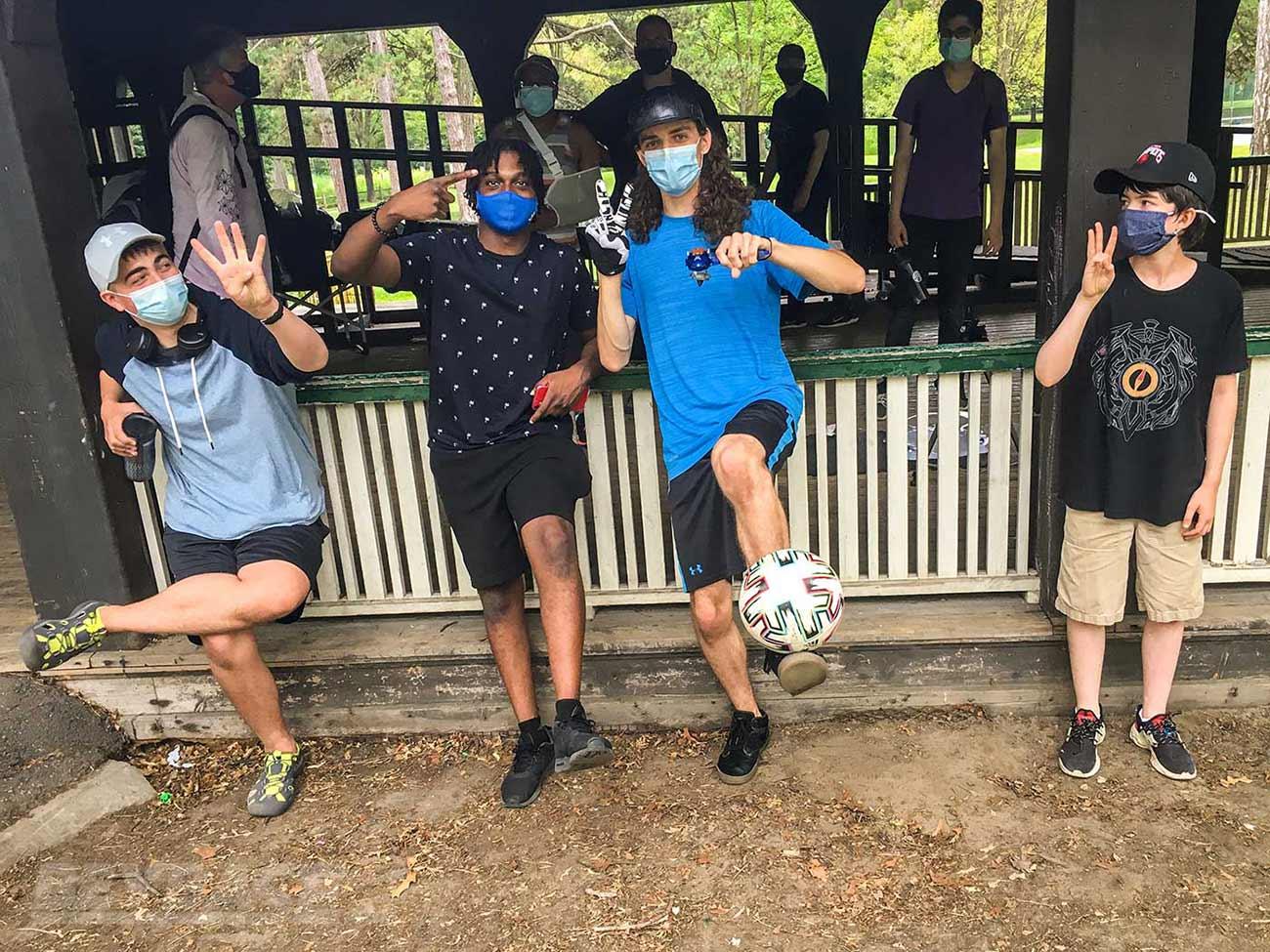 beyblade tournament winners group photo: henwooja1, justin tc, 1234beyblade, and bladerbeast