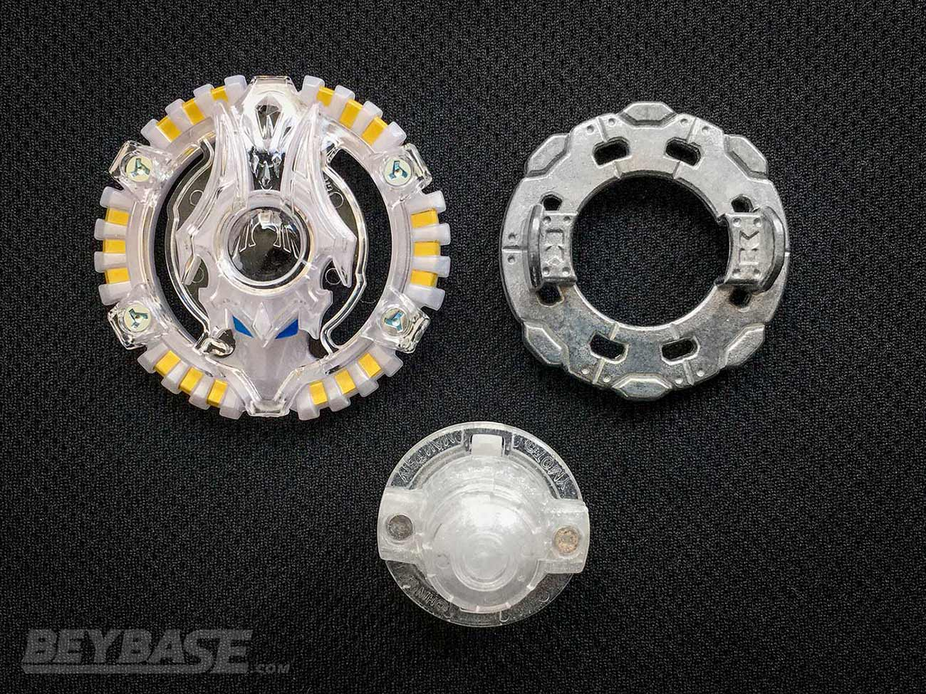 beyblade burst classic stamina combo parts: acid anubis layer, knuckle disk, and revolve driver