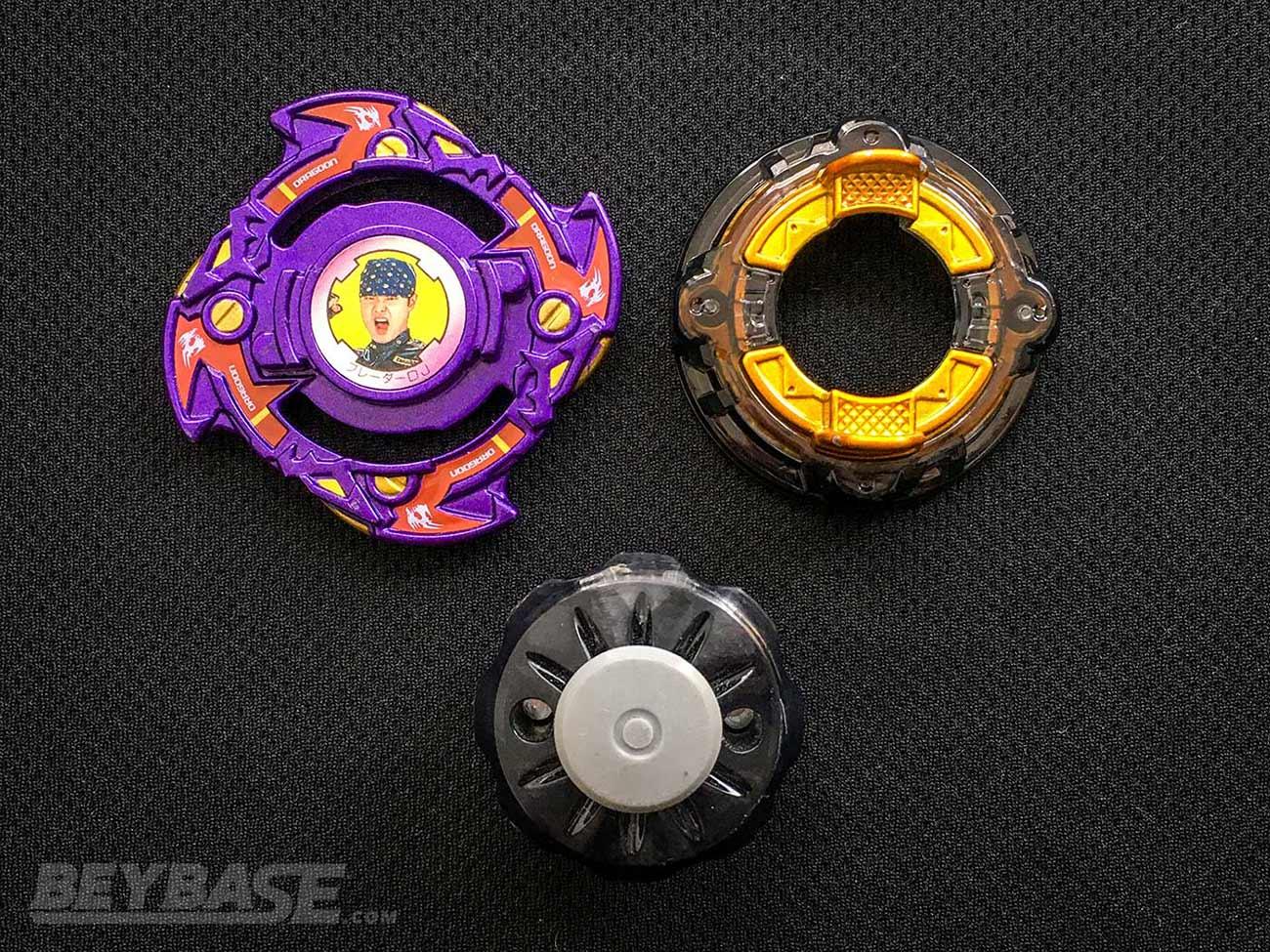 beyblade burst classic stamina combo parts: dragoon f layer, polish disk, and drift driver