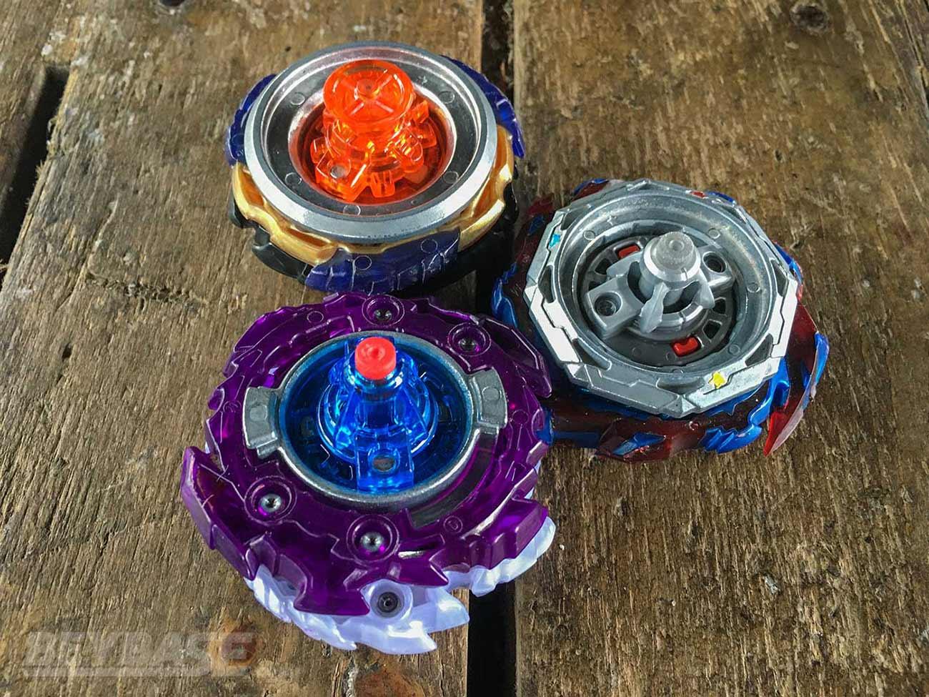 beyblade burst deck: rage metal xtreme 3a, savior giga xtreme dash, and dynamite f gear over rise